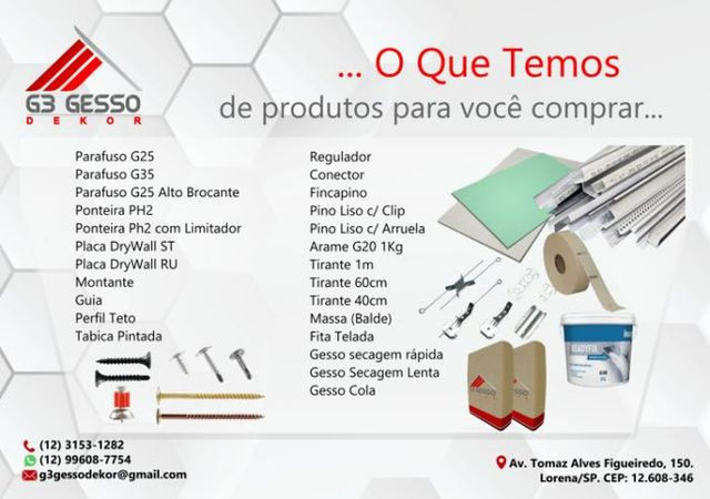 G3 Gesso Dekor - Venda de Produtos e Aplicação
